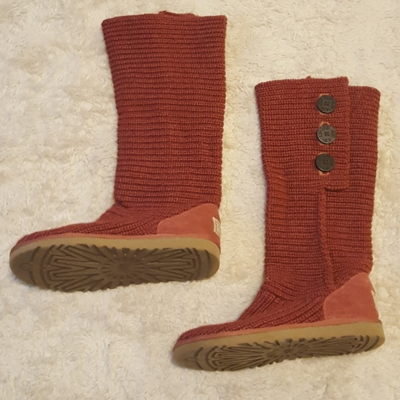 ugg shoes 3 button knit red classic cardy boots 9 poshmark rh poshmark com